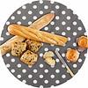 MixMamas Europees Eco tafelzeil Rond grijs met witte stippen 140 cm