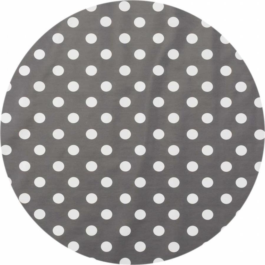Europees Eco tafelzeil Rond grijs met witte stippen 140 cm
