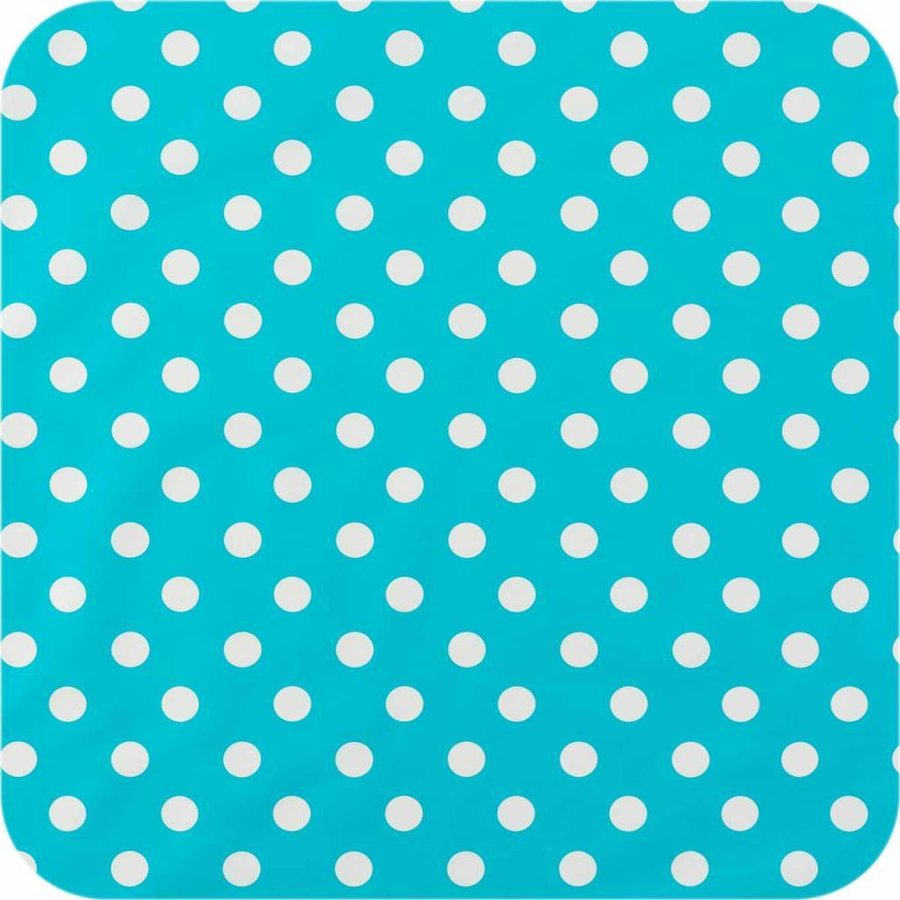 Europees Eco tafelzeil Rol 20m turquoise-wit grote stip 140 cm