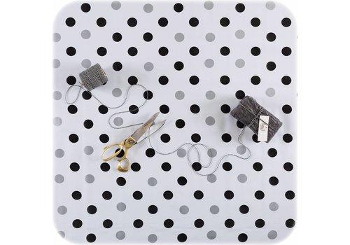 Tafelzeil op rol  confetti zwart-zilver