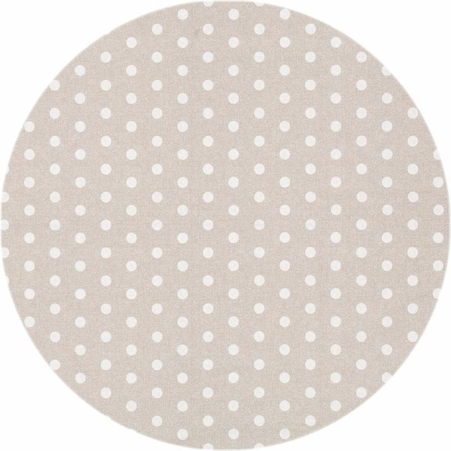 Gecoat rond tafelkleed Stippen beige-wit 180cm