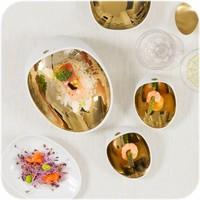 Cookplay Jomon mini tapasbakje porselein wit-goud 4-delig