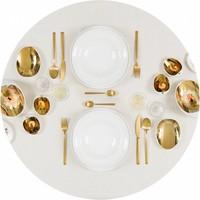 Gecoat tafelkleed Linnen Wit met gouddraad Rond ∅ 160 cm
