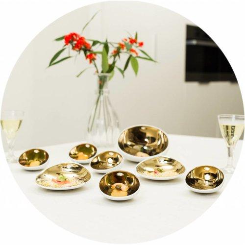 Gecoat tafelkleed Linnen Wit met goud Rond 180cm