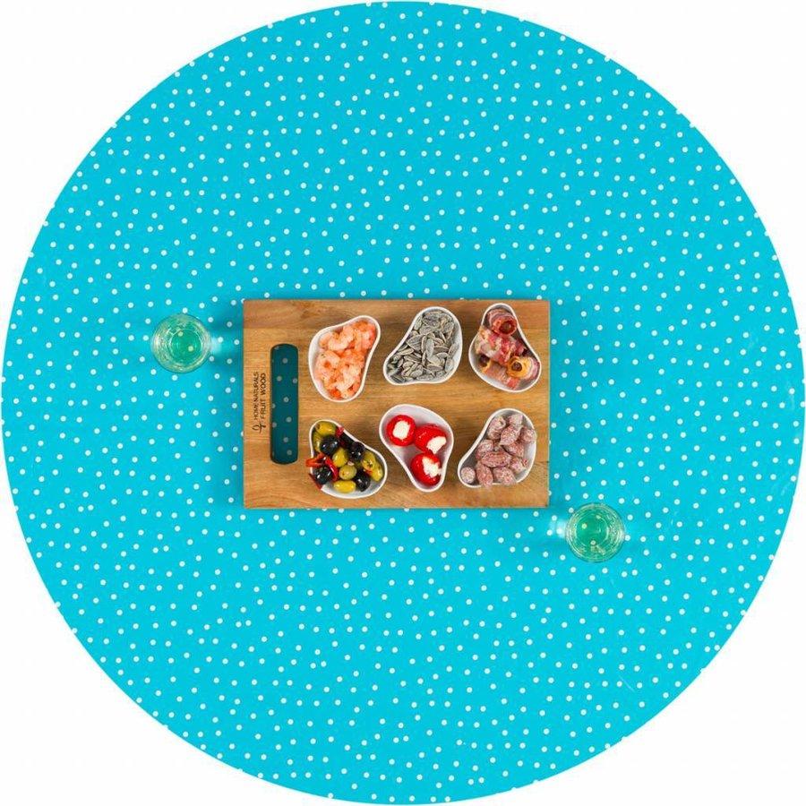 Tafelzeil Eco Rond Lichtblauw met witte stipjes 140 cm