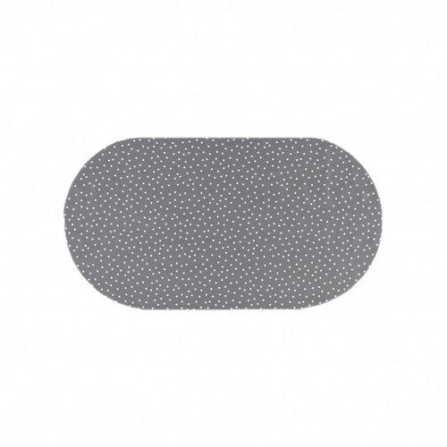 Tafelzeil Eco Ovaal Grijs met witte stipjes 200 cm