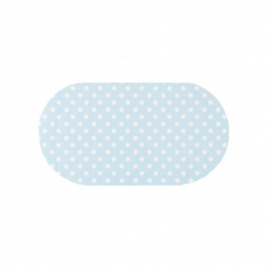 Tafelzeil Eco Ovaal Lichtblauw met witte stippen 200 cm bij 140 cm