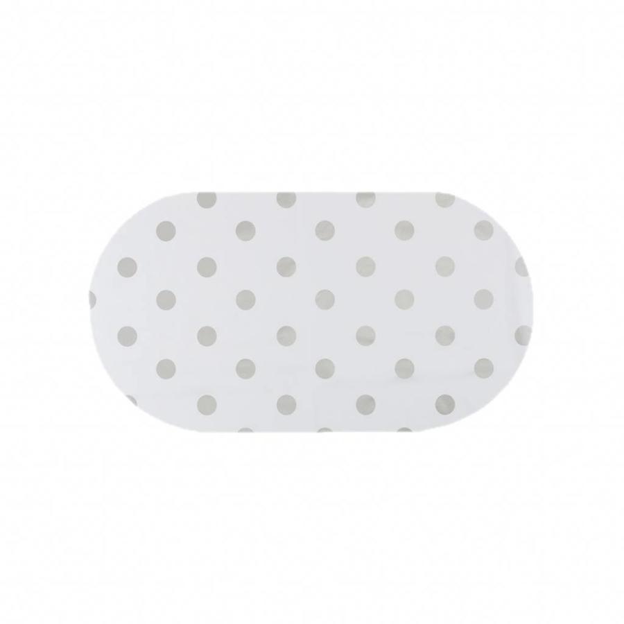 Tafelzeil Eco Ovaal Wit met zilveren stippen 200 cm bij 140 cm