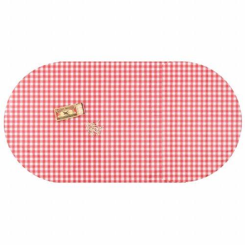 Ovaal tafelkleed Tafelzeil Eco ruitje rood 250 cm