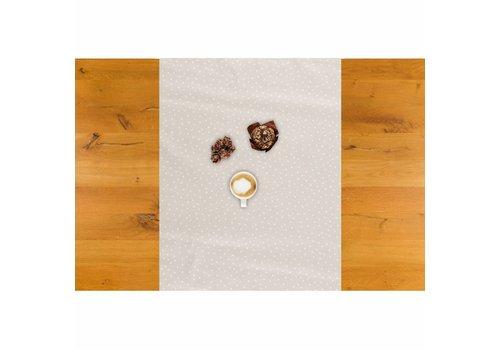 Tafelzeil Biertafel Eco Beige met witte stipjes op rol 5m bij 70 cm