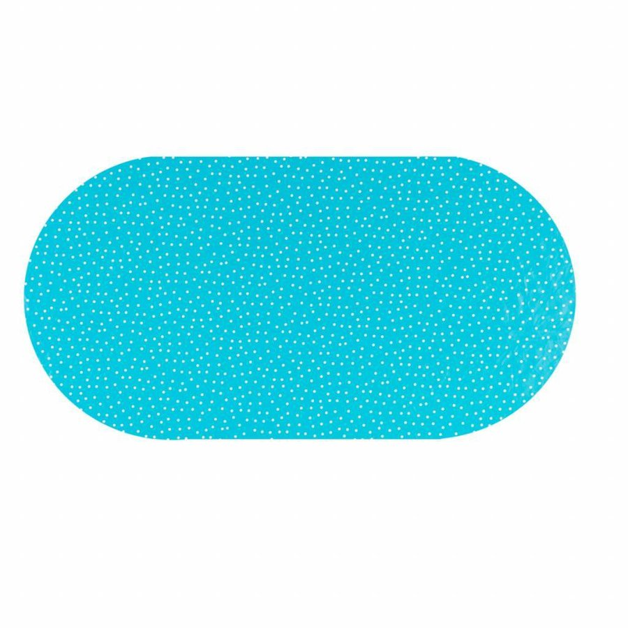 Tafelzeil Eco Ovaal blauw met witte stipjes 250 cm bij 140 cm
