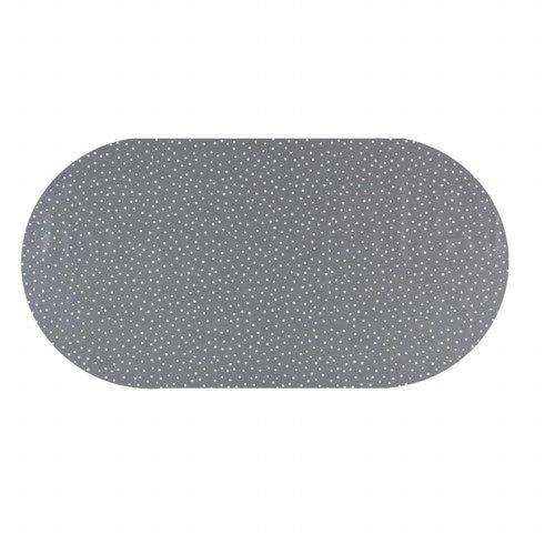 Tafelzeil Eco Ovaal Grijs met witte stipjes 250 cm