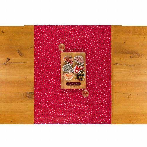 Tafelloper Tafelzeil Biertafel Eco Rood met witte stipjes 5 m x 70 cm