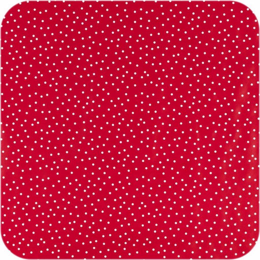 Tafelloper tafelzeil Eco Rood met witte stipjes op rol 5m bij 70 cm