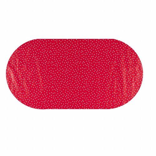 Tafelzeil Eco Ovaal rood met witte stipjes 250 cm