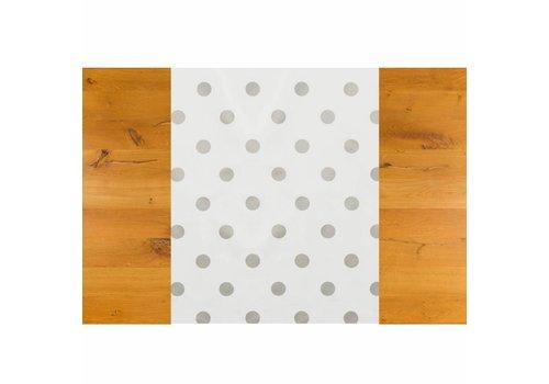Tafelzeil Biertafel Eco Wit met zilveren stippen op rol 5m bij 70 cm