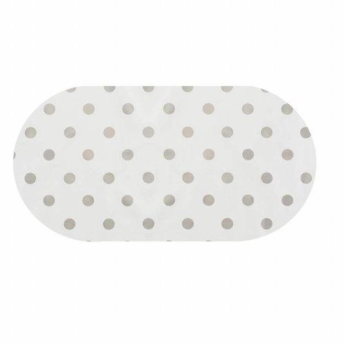 Tafelzeil Eco Ovaal Wit met zilveren stippen 250 cm
