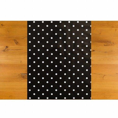 Tafelzeil Biertafel Eco zwartwit grote stip op rol 5m bij 70 cm