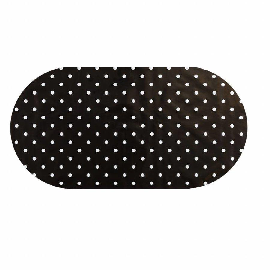 Tafelzeil Eco zwart met witte stippen Ovaal 250 cm bij 140 cm