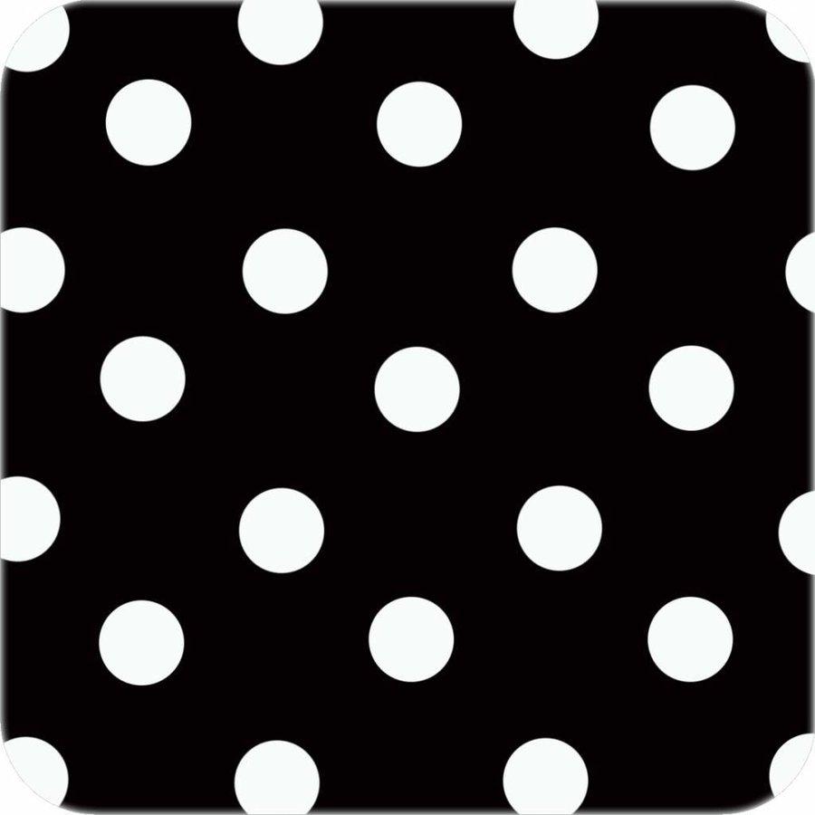 Tafelzeil Eco zwart met witte stippen Ovaal 300 cm bij 140 cm