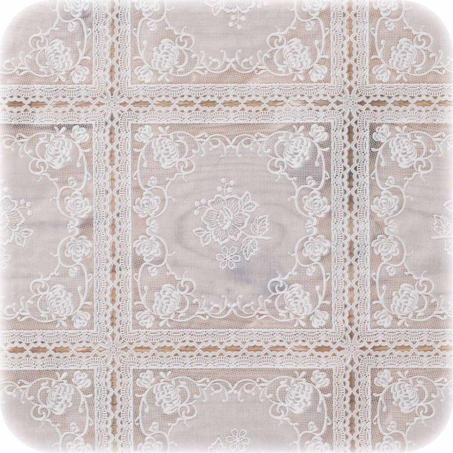 Tafelzeil wit kant roosjes rond 135cm