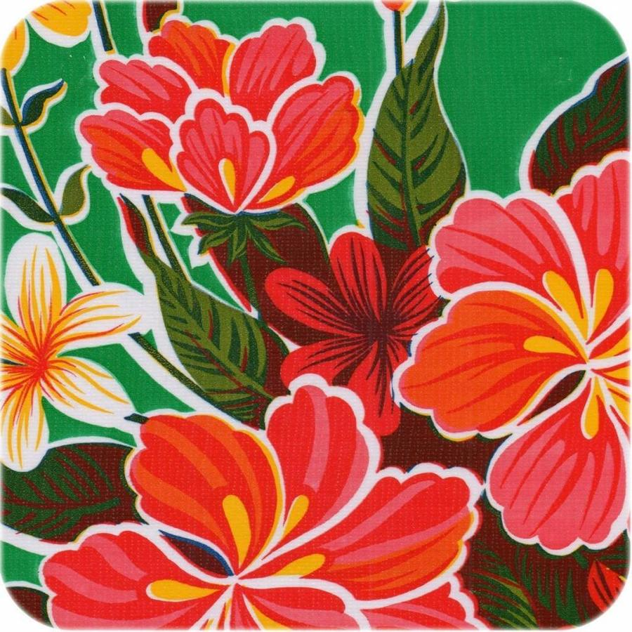 Rond tafelzeil 120cm Fortin hibiscus Groen