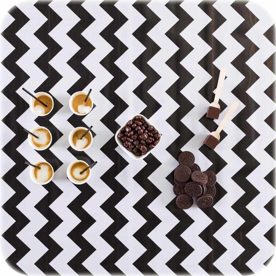 Mexciaans Tafelzeil 270 cm bij 1,20m Zigzag Chevron zwart