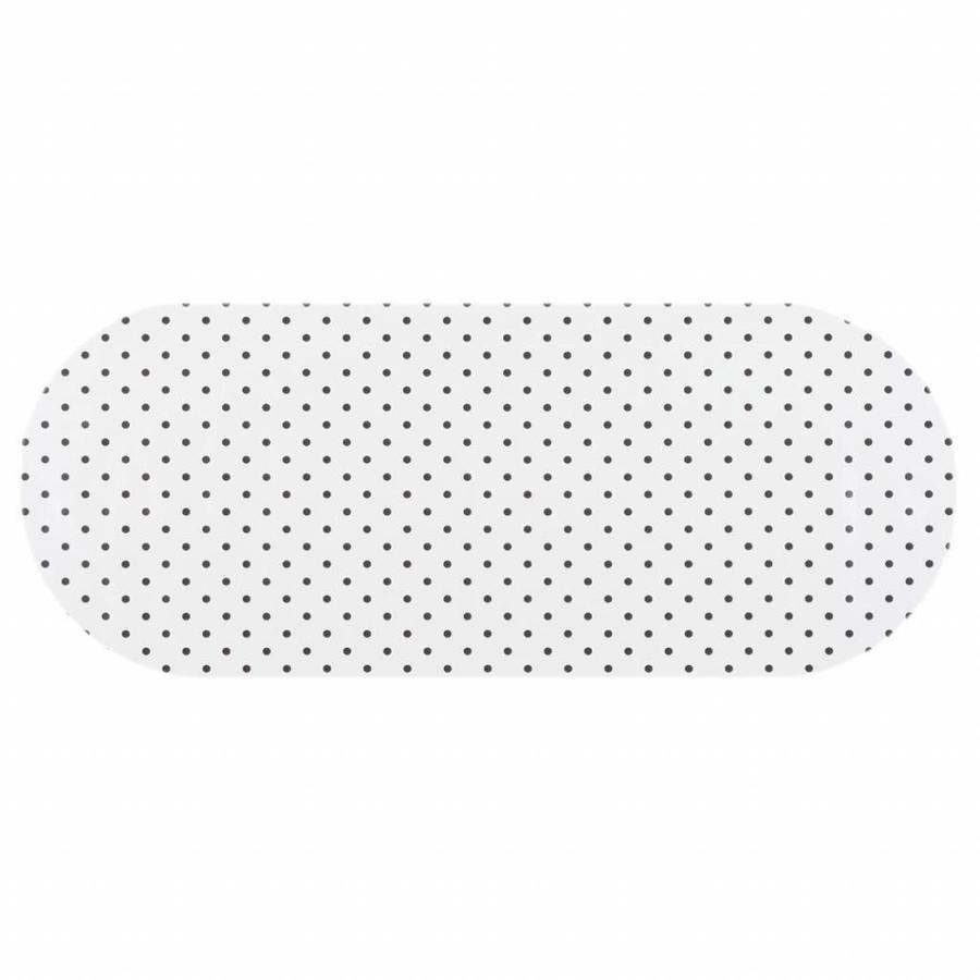 Tafelzeil Eco wit met zwarte stippen Ovaal 300 cm bij 140 cm