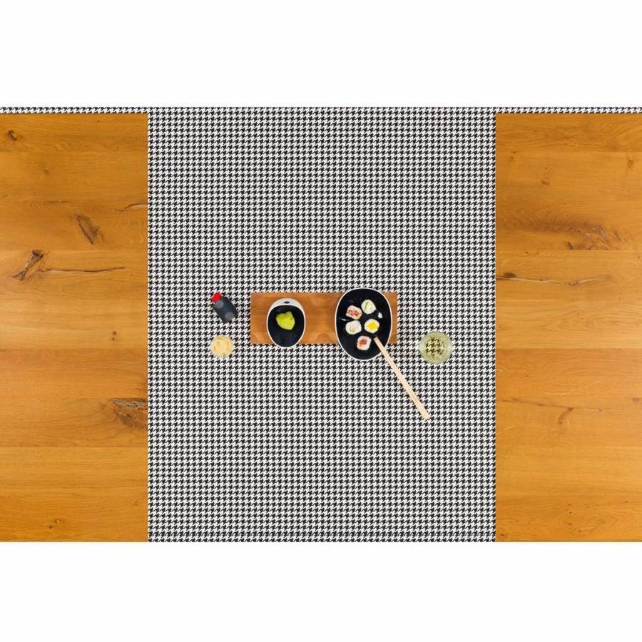 Tafelzeil Biertafel Eco Pied de Poule zwart op rol 5m bij 70 cm