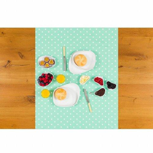 Tafelzeil Biertafel Eco mintgroen met witte stippen op rol 5m bij 70 cm