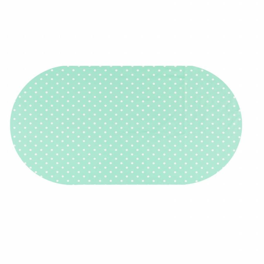 Tafelzeil Eco mintgroen met witte stippen Ovaal 250 cm bij 140 cm