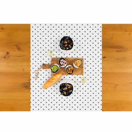 Tafelzeil Biertafel Eco wit met zwarte stippen op rol 5m bij 70 cm