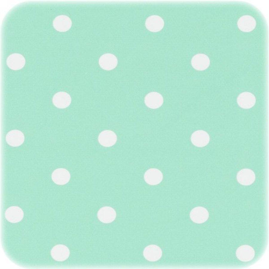 Tafelzeil Eco mintgroen met witte stippen op rol 10m