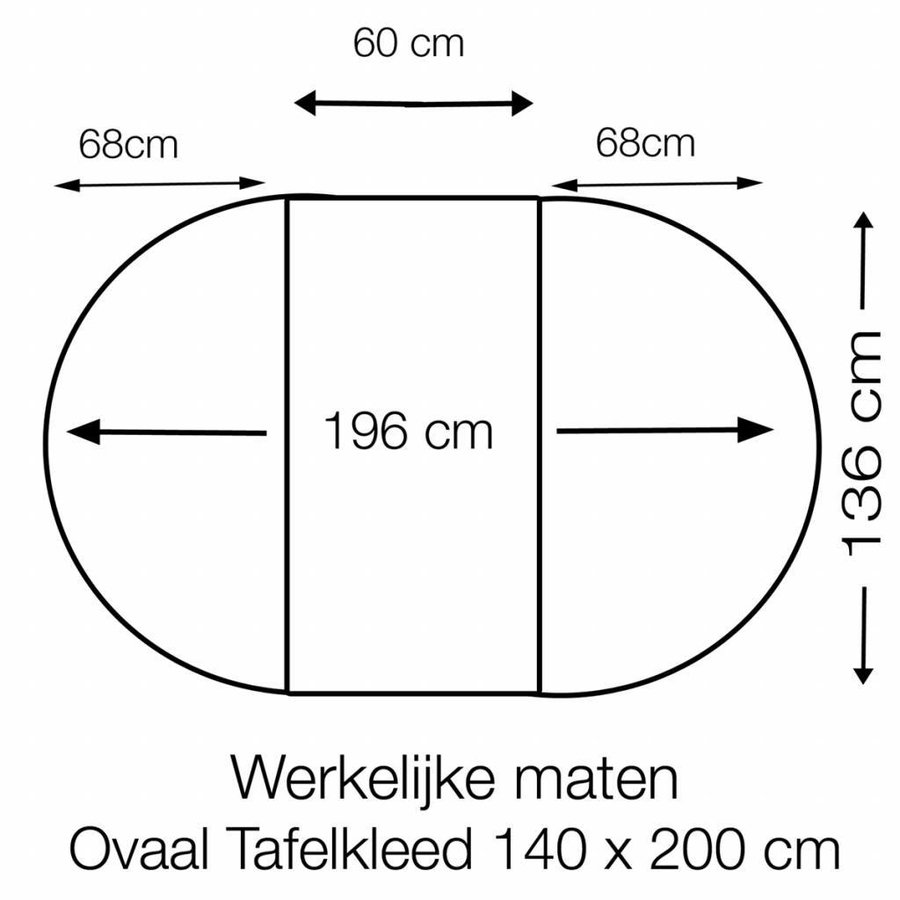 Tafelzeil Eco Pied de Poule zwart Ovaal 200 cm bij 140 cm