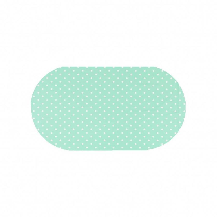 Tafelzeil Eco mintgroen met witte stippen Ovaal 200 cm bij 140 cm