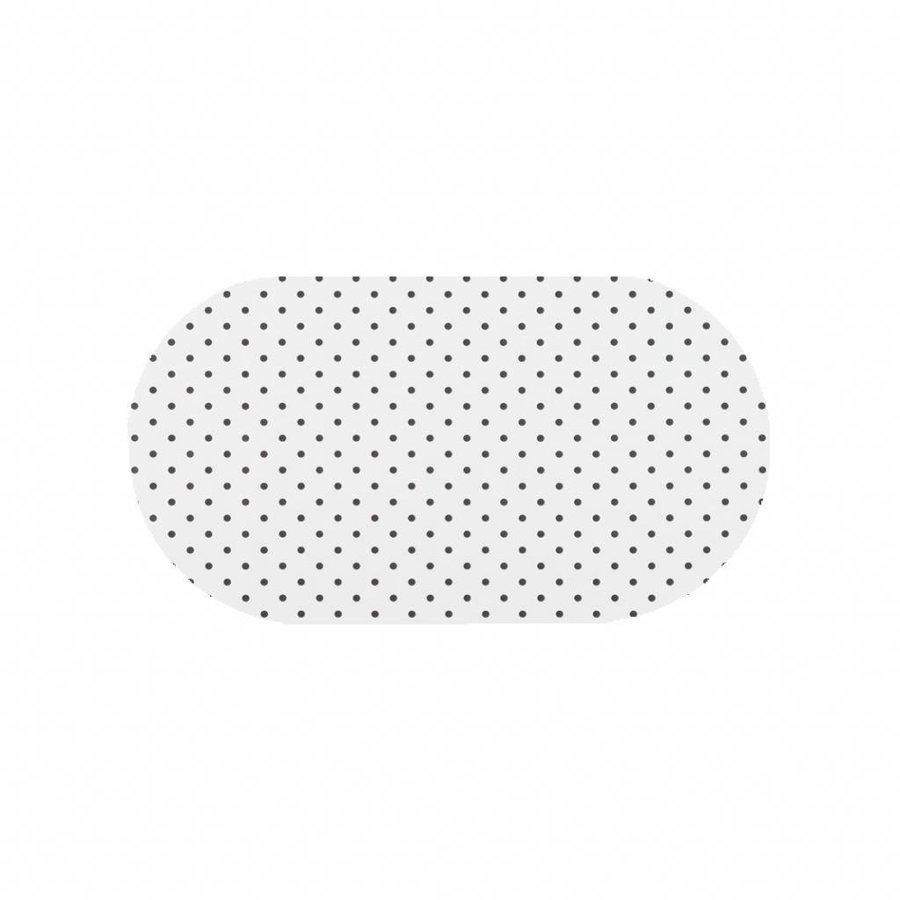 Tafelzeil Eco wit met zwarte stippen Ovaal 200 cm bij 140 cm