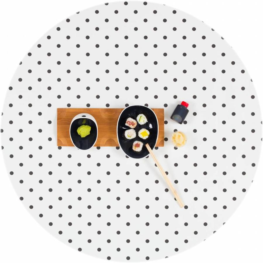 Tafelzeil Eco wit met zwarte stippen rond 140 cm