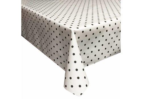 Tafelzeil Eco Vierkant wit met zwarte stippen 140 cm