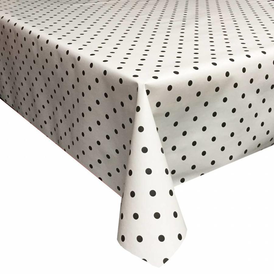 Tafelzeil Eco wit met zwarte stippen vierkant 140 cm