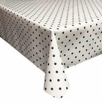 Tafelzeil Eco wit met zwarte stippen 200 cm bij 140 cm