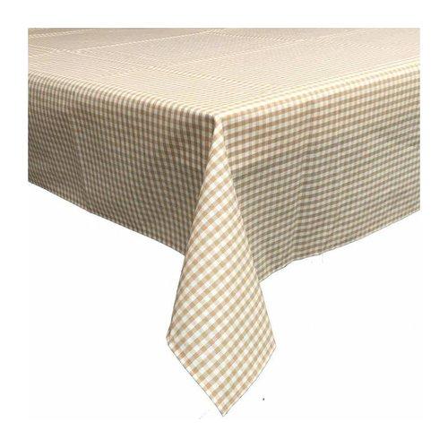 Gecoat tafelkleed 2,5m Ruitje beige 1,6m breed