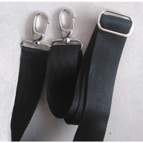 Used2b Schouderband afneembaar - Recyceld Seatbelts - 150 cm x 4m - Zwart