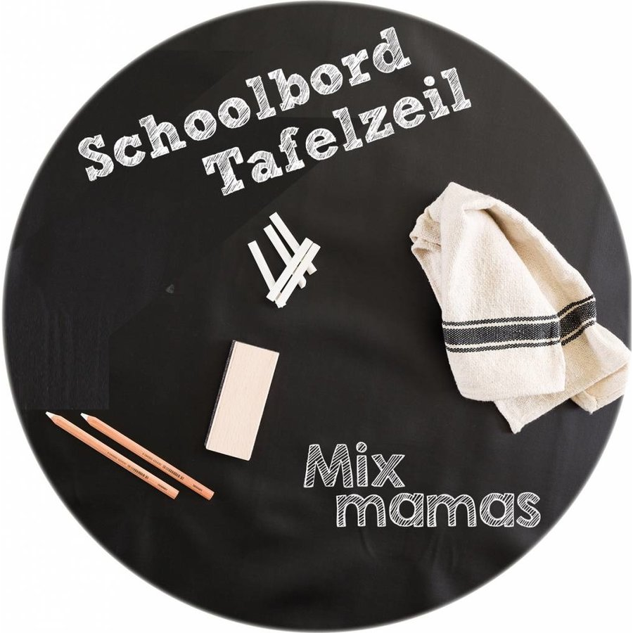 Mexicaans Tafelzeil Rond - Ø 120 cm - Schoolbord - Zwart