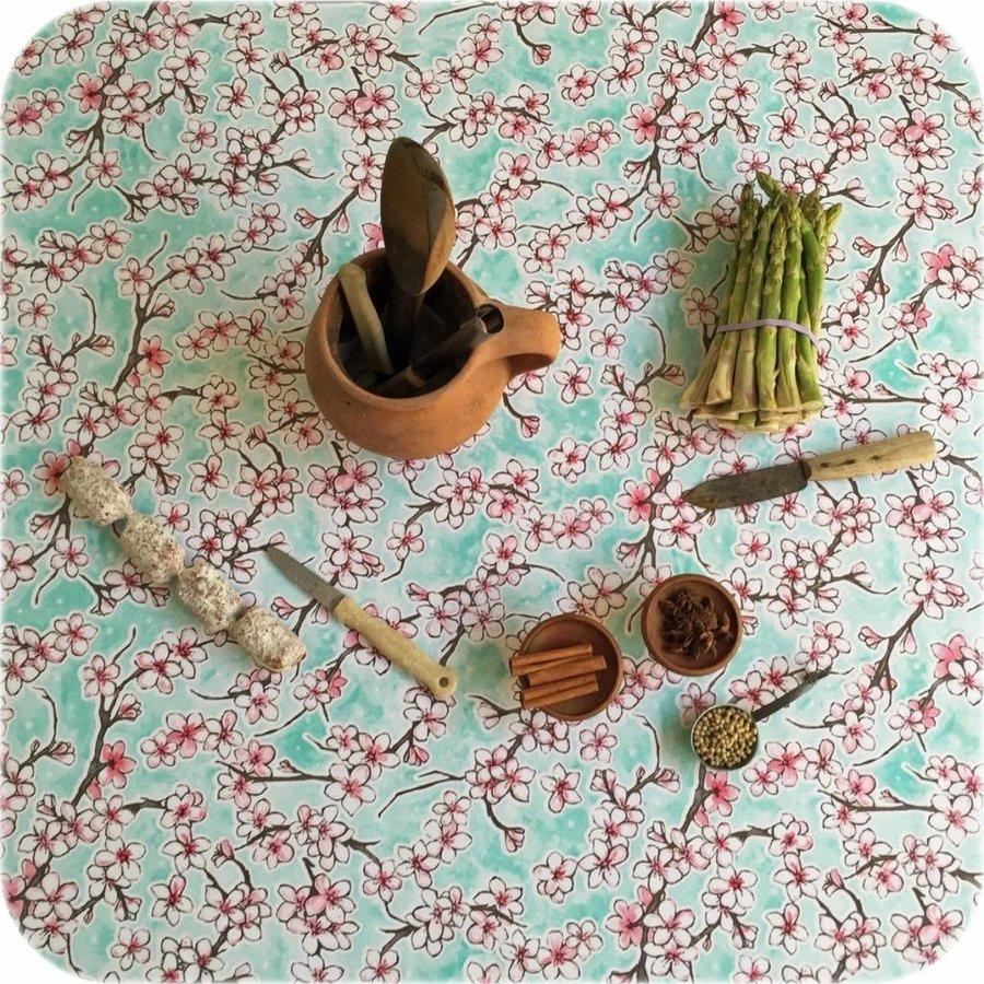 Mexicaans Tafelzeil Kersenbloesem - 120 x 300 cm - Rol - Mintgroen