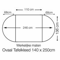 Tafelzeil Ovaal - 140 x 250 cm - Stippen - Grijs/Witt