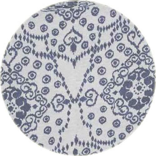 Rond Tafelkleed Gecoat - Ø 140 cm -Jeans flower - Blauw
