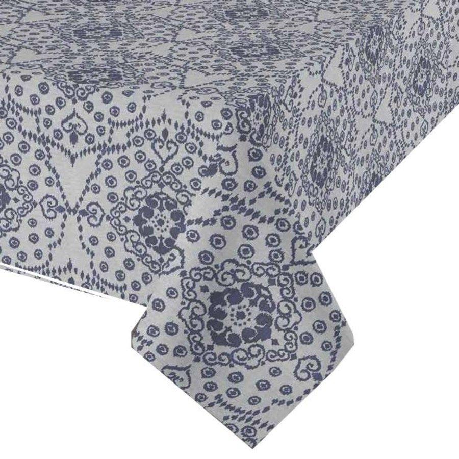 Rond Tafelkleed Gecoat - 140 cm -Gecoat -Jeans flower - Blauw