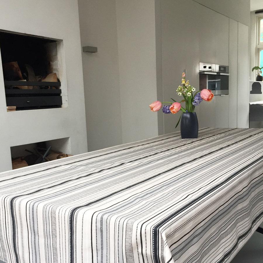 Tafelkleed Gecoat Strepen -140 x 250 cm - Grijs