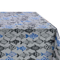 Tafelkleed Gecoat Visjes - 140 x 250 cm - Blauw/Zwart