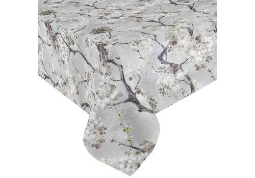 Tafelkleed Gecoat Bloesem - 140 x 250 cm - Grijs
